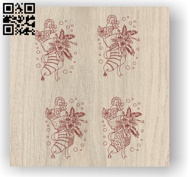 Christmas socks E0012076 file cdr and dxf free vector download for laser engraving machines