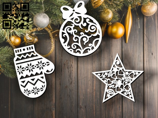 Christmas toys E0012083 file cdr and dxf free vector download for laser cut