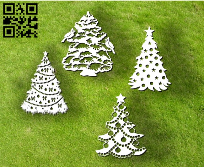 Christmas tree E0012057 file cdr and dxf free vector download for laser engraving machines