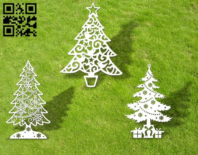Christmas tree E0012130 file cdr and dxf free vector download for laser cut