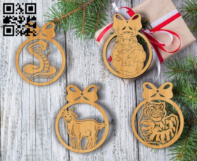 Christmas tree decoration animals E0012009 file cdr and dxf free vector download for laser cut