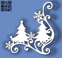 Christmas tree decorative corner E0012012 file cdr and dxf free vector download for laser cut