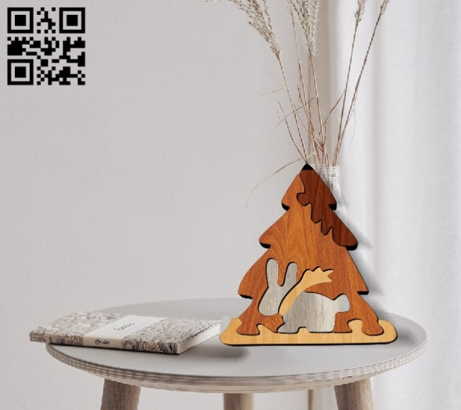 Christmas tree with hare puzzles E0012047 file cdr and dxf free vector download for laser cut