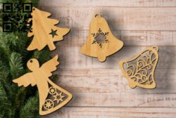 Decorate Christmas tree E0012080 file cdr and dxf free vector download for laser cut