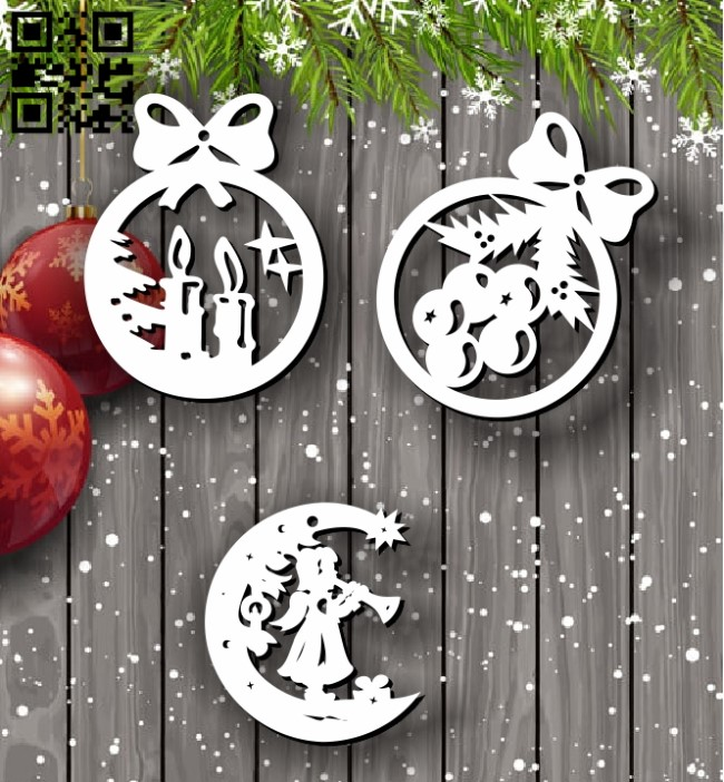 Decorate Christmas tree E0012084 file cdr and dxf free vector download for laser cut