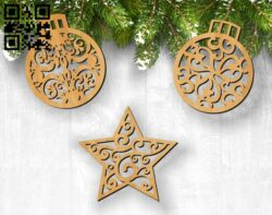 Decorate Christmas tree E0012085 file cdr and dxf free vector download for laser cut
