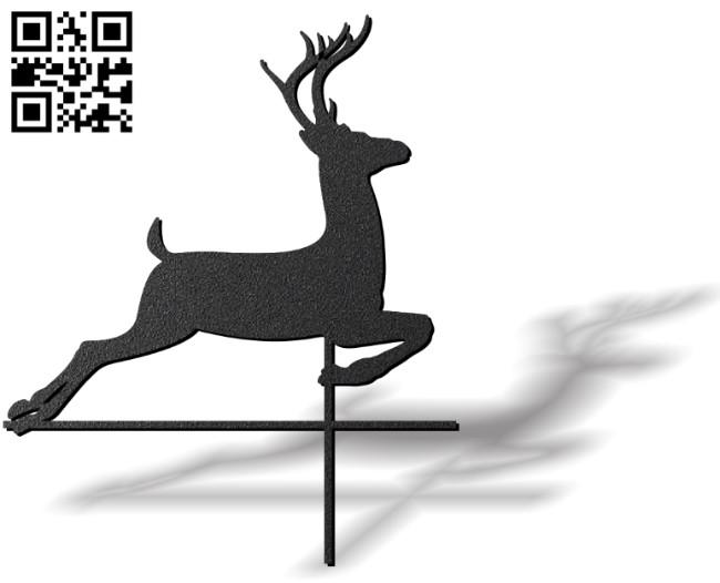 Deer weather wind vane E0012109 file cdr and dxf free vector download for laser cut plasma