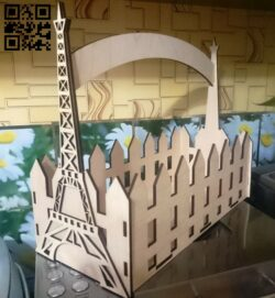 Eiffel tower flower box E0012075 file cdr and dxf free vector download for laser cut