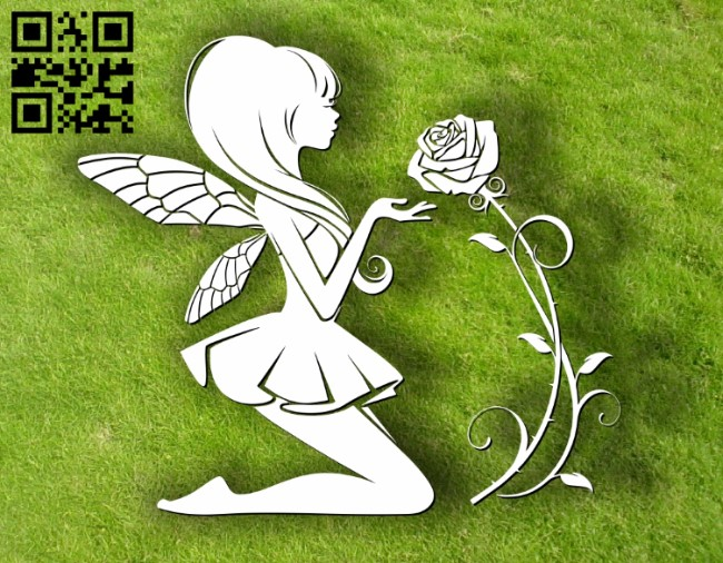 Fairies with rose E0012015 file cdr and dxf free vector download for laser cut