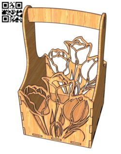 Flower Box Tulips E0012092 file cdr and dxf free vector download for laser cut