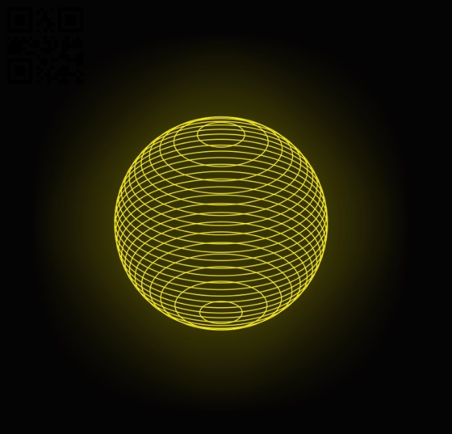 3D illusion led lamp Globular E0011976 file cdr and dxf free vector download for laser engraving machines