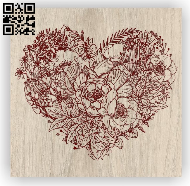 Heart wreath E0011973 file cdr and dxf free vector download for laser engraving machines