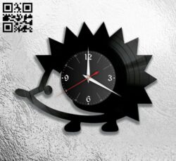 Hedgehog clock E0012181 file cdr and dxf free vector download for laser cut
