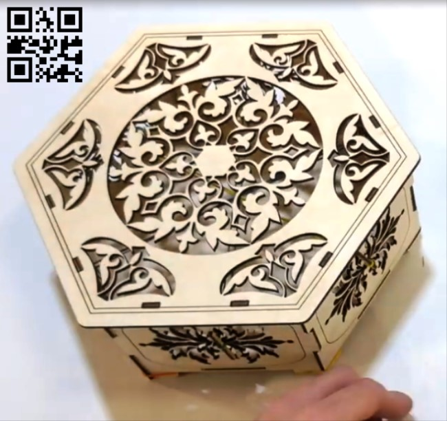 Hexagon box E0012154 file cdr and dxf free vector download for laser cut