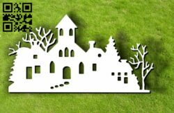 Houses with trees E0012126 file cdr and dxf free vector download for laser cut plasma