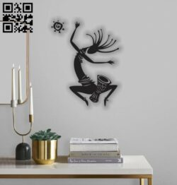 Kokopelli dances E0012039 file cdr and dxf free vector download for laser cut