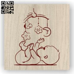 Cute baby E0012030 file cdr and dxf free vector download for laser engraving machines