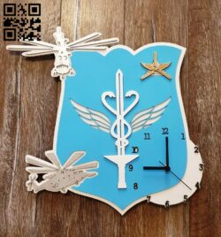 Military medical hospital clock E0012176 file cdr and dxf free vector download for laser cut