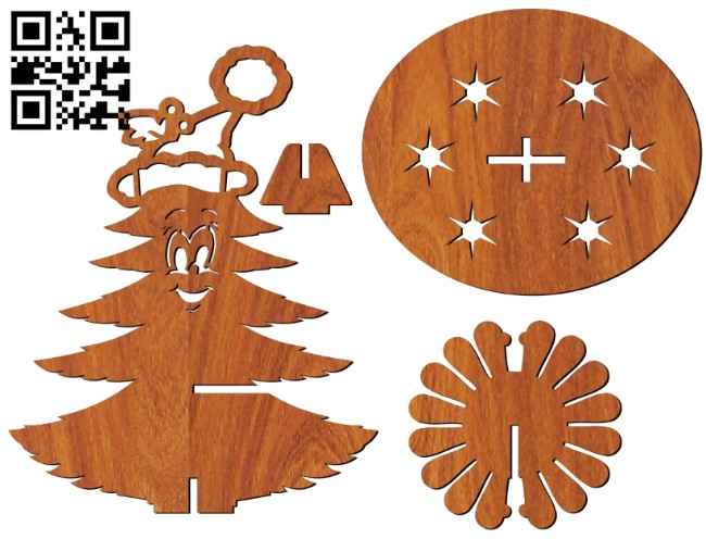 Napkin Christmas tree E0012106 file cdr and dxf free vector download for laser cut