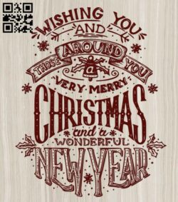 New Year and Christmas lettering E0012213 file cdr and dxf free vector download for laser engraving machines