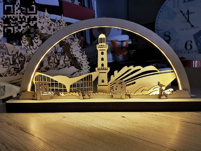 Pier night light E0012178 file cdr and dxf free vector download for laser cut