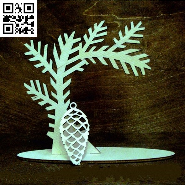 Pine tree E0012147 file cdr and dxf free vector download for laser cut