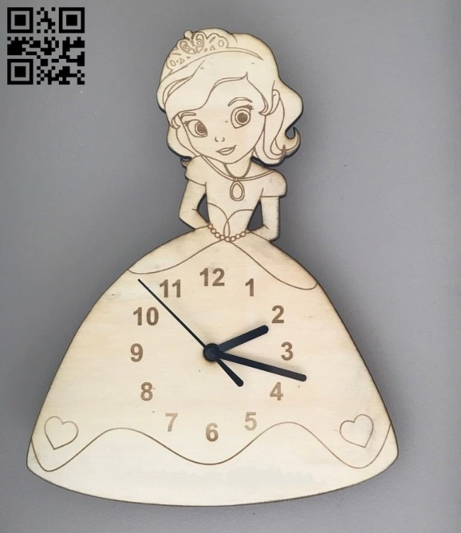 Princess Clock E0012024 file cdr and dxf free vector download for laser cut