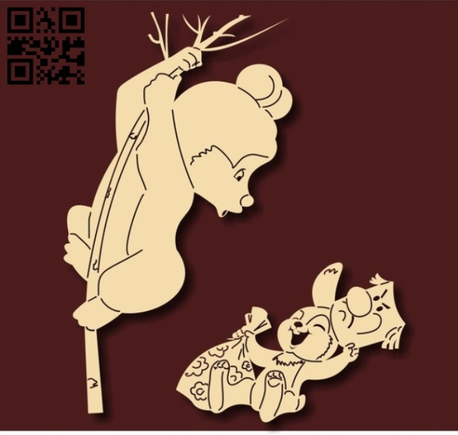 Rabbit with bear E0012218 file cdr and dxf free vector download for laser cut