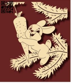 Rabbit with carrot E0012215 file cdr and dxf free vector download for laser engraving machines
