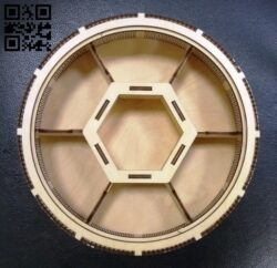 Round box with six compartments E0012077 file cdr and dxf free vector download for laser cut