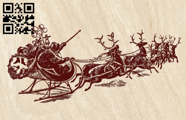 Santa Claus and sleigh E0012143 file cdr and dxf free vector download for laser engraving machines