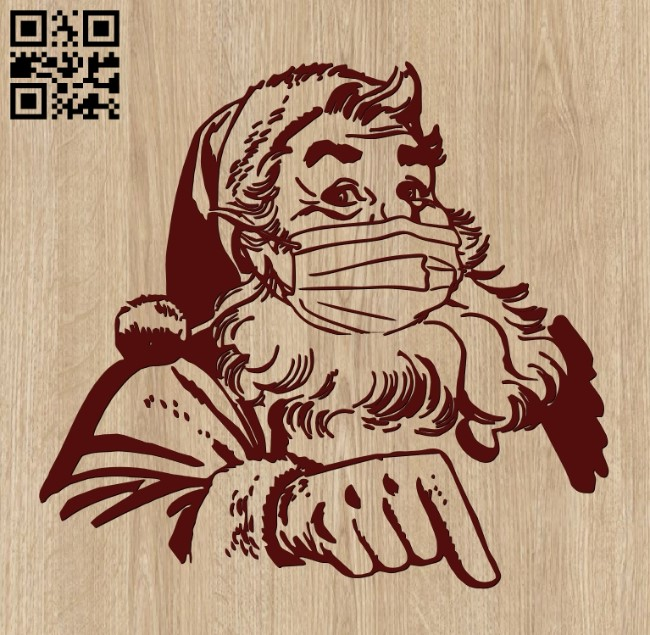 Santa Claus in a mask E0012211 file cdr and dxf free vector download for laser cut