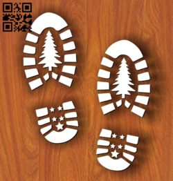 Santa Shoe Stencils E0011974 file cdr and dxf free vector download for laser cut