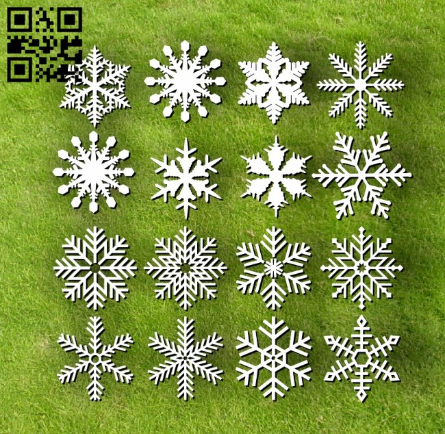 Snowflakes E0012172 file cdr and dxf free vector download for laser cut