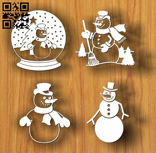 Snowman E0012056 file cdr and dxf free vector download for laser engraving machines