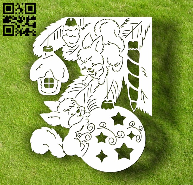 Squirrel with Christmas ball E0012135 file cdr and dxf free vector download for laser cut
