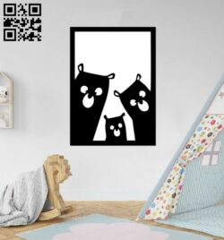 Three dogs mural E0012114 file cdr and dxf free vector download for laser cut plasma