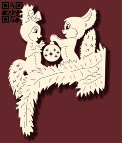 Two squirrels E0012195 file cdr and dxf free vector download for laser cut