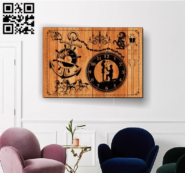 Wedding clock E0012185 file cdr and dxf free vector download for laser engraving machines