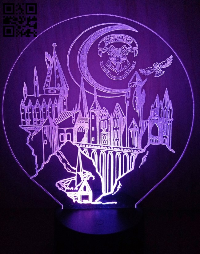 3D illusion led lamp Harry potter E0012462 file cdr and dxf free vector download for laser engraving machines
