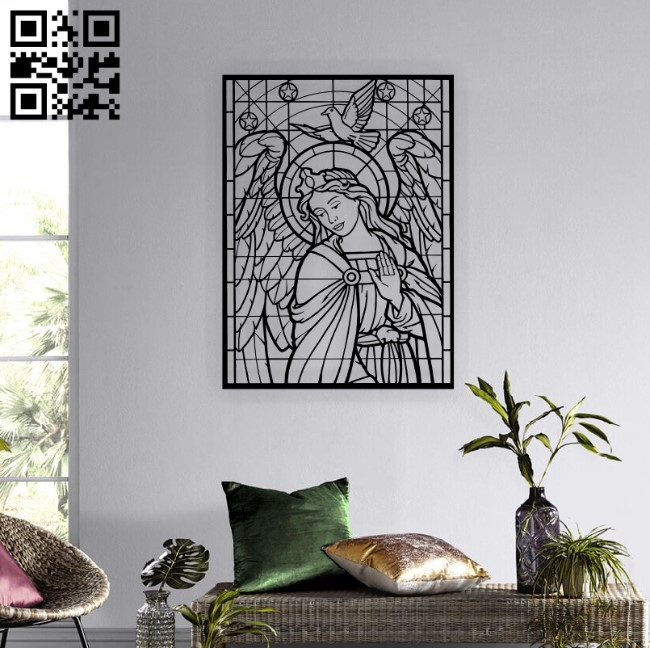 Angel with dove E0012380 file cdr and dxf free vector download for laser cut plasma