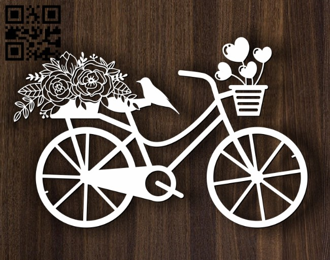 Bicycle with flower E0012511 file cdr and dxf free vector download for laser cut