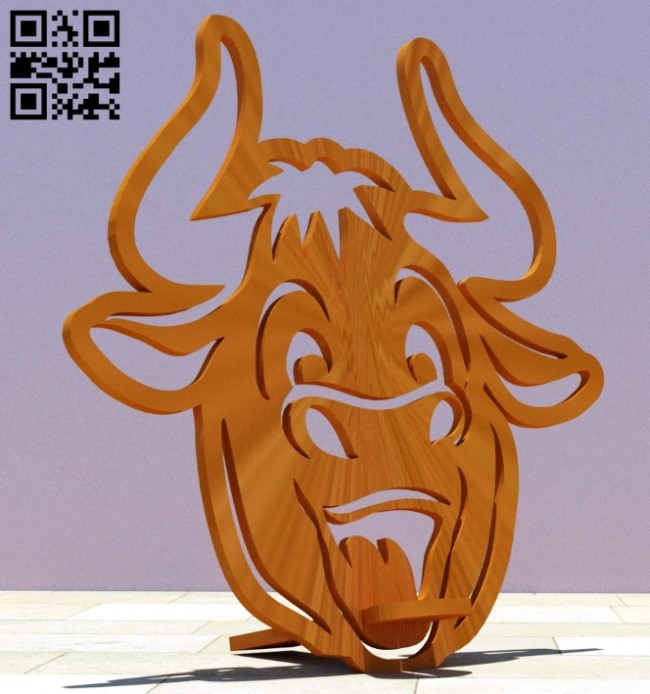 Bull phone stand E0012322 file cdr and dxf free vector download for Laser cut
