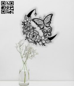 Butterflies with moon E0012400 file cdr and dxf free vector download for laser cut plasma