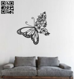 Butterfly and flower E0012323 file cdr and dxf free vector download for Laser cut plasma