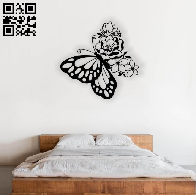 Butterfly and flower E0012373 file cdr and dxf free vector download for laser cut plasma