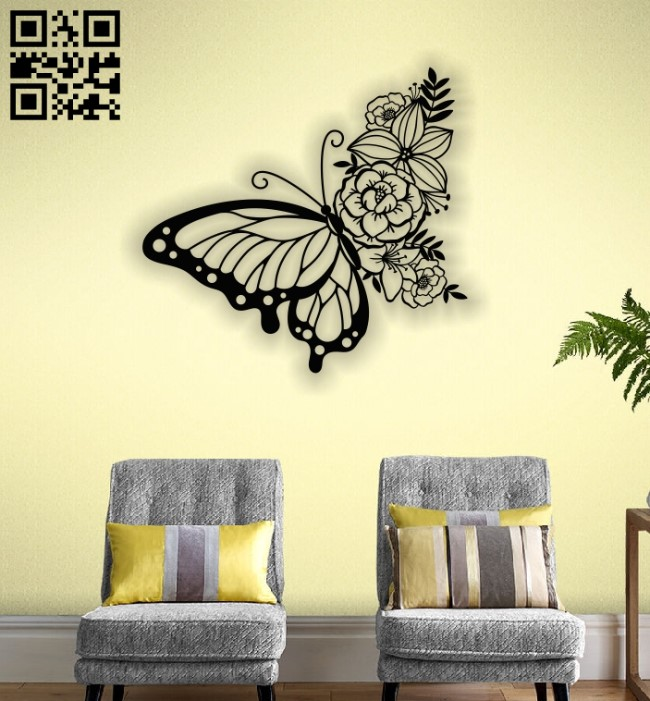 Butterfly with flowers E0012453 file cdr and dxf free vector download for laser cut plasma