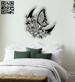 Butterfly with moon E0012454 file cdr and dxf free vector download for laser cut plasma