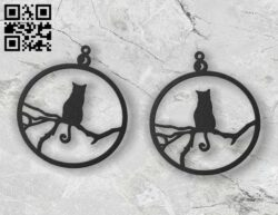 Cat earrings E0012291 file cdr and dxf free vector download for laser cut