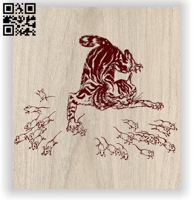Cat with mouses E0012547 file cdr and dxf free vector download for laser engraving machines